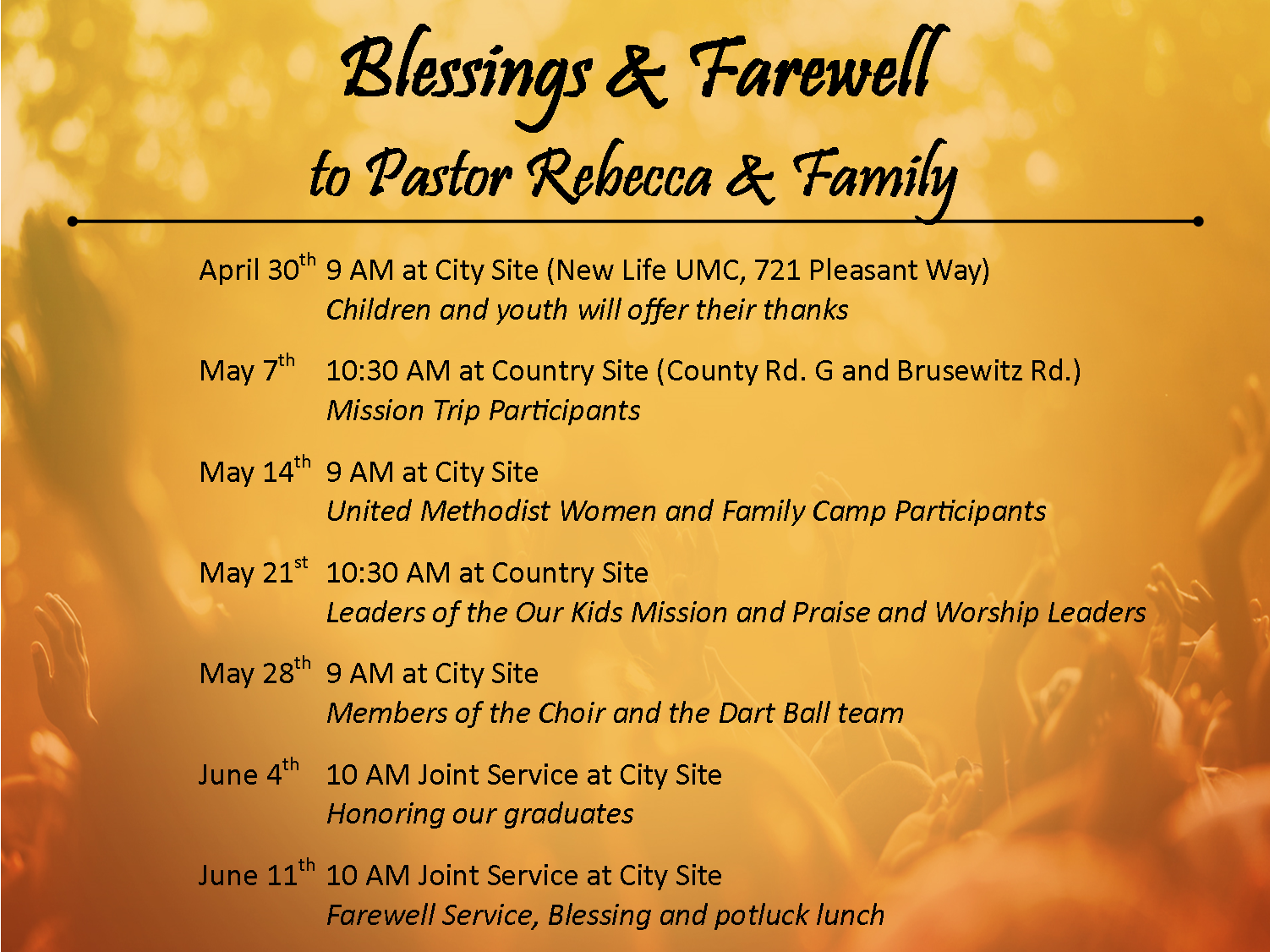 Blessings & Farewell – New Life United Methodist Church